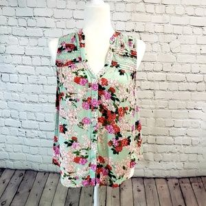Meadow Rue by Anthropologie. Boho floral top, sz0